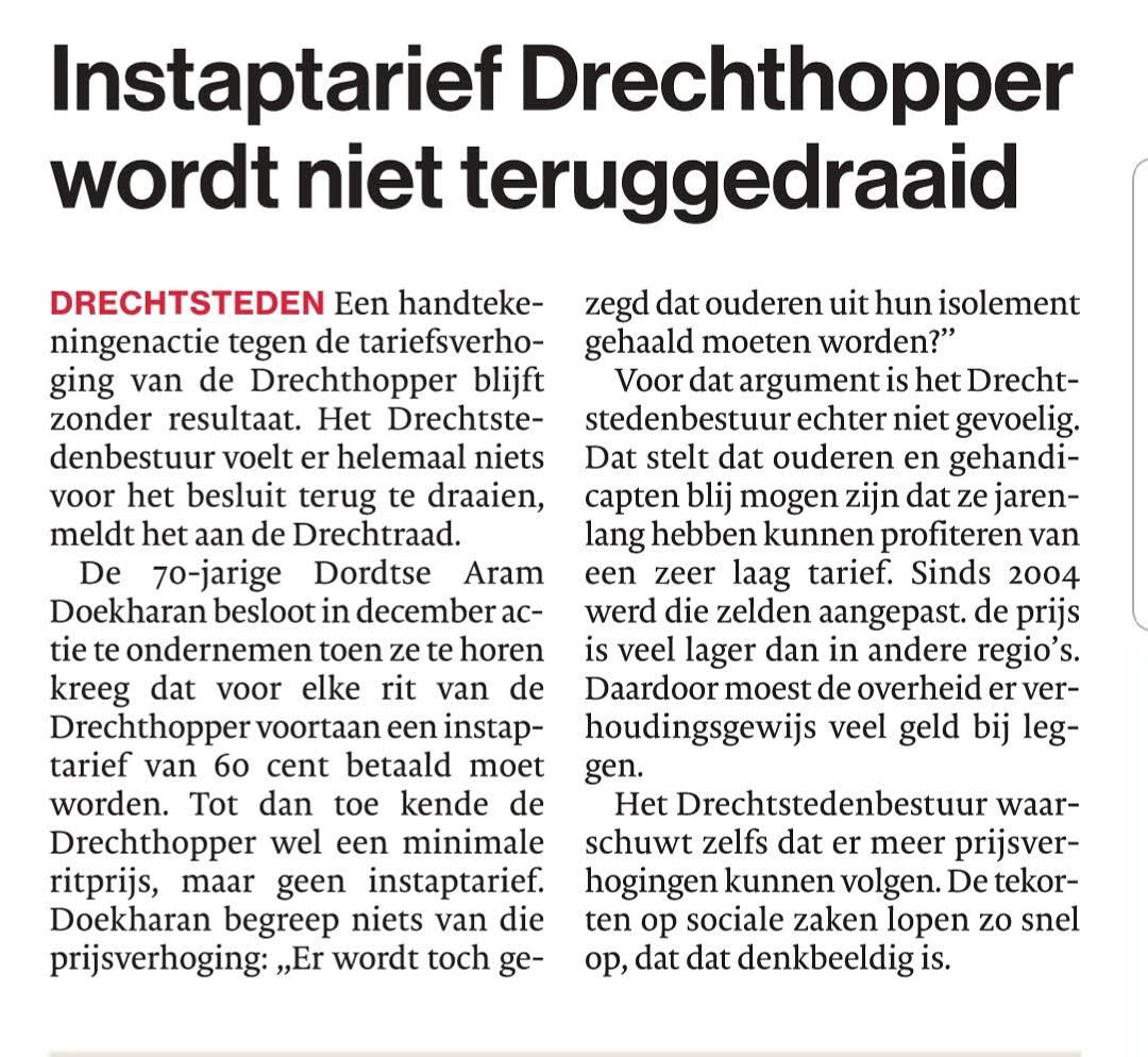 """""""<a href=""""/?p=196"""">Instaptarief Drechthopper</a> wordt niet teruggedraaid"""""""