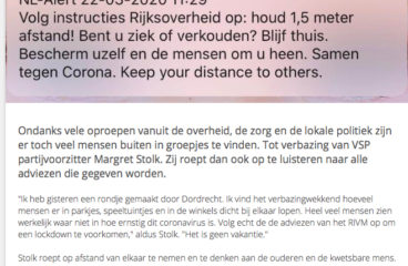 "Margret Stolk: <a href=""/?p=947"">Houd afstand van elkaar!</a>"